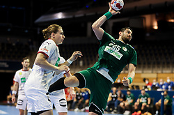 Sofiane Bendjilali of Algeria during handball match between National Teams of Algeria and Germany at Day 3 of IHF Men's Tokyo Olympic  Qualification tournament, on March 14, 2021 in Max-Schmeling-Halle, Berlin, Germany. Photo by Vid Ponikvar / Sportida