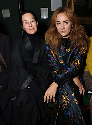 (left) Amanda Harlech on the front row during the Erdem Autumn/Winter 2019 London Fashion Week show at The National Portrait Gallery, London.