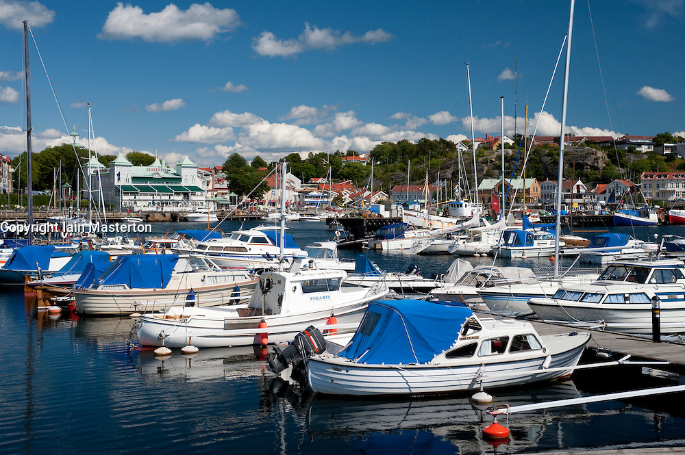 Sailing boats moored in harbour  in Stromstad town on bohuslan west coast in Sweden