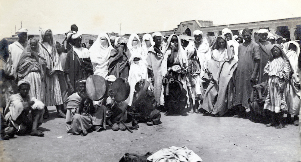 street scene city of Marrakech in Morocco early 1900s
