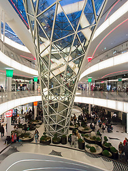 Interior of MyZeil shopping mall in Frankfurt Germany