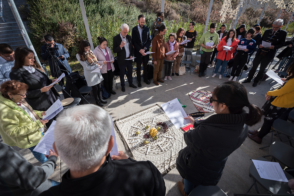 7 December 2019, Madrid, Spain: People of faith gather in a 'Prayer for the Rainforest' as part of the Cumbre Social por el Clima, on the fringes of COP25 in Madrid, where faith-based organizations continue to urge decision-makers to take action for climate justice.