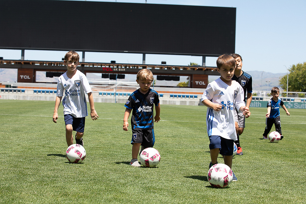 MLS San Jose Quakes players and their children photographed with Sutter Health physicians Monday, May 7, 2018 at Avaya Stadium.