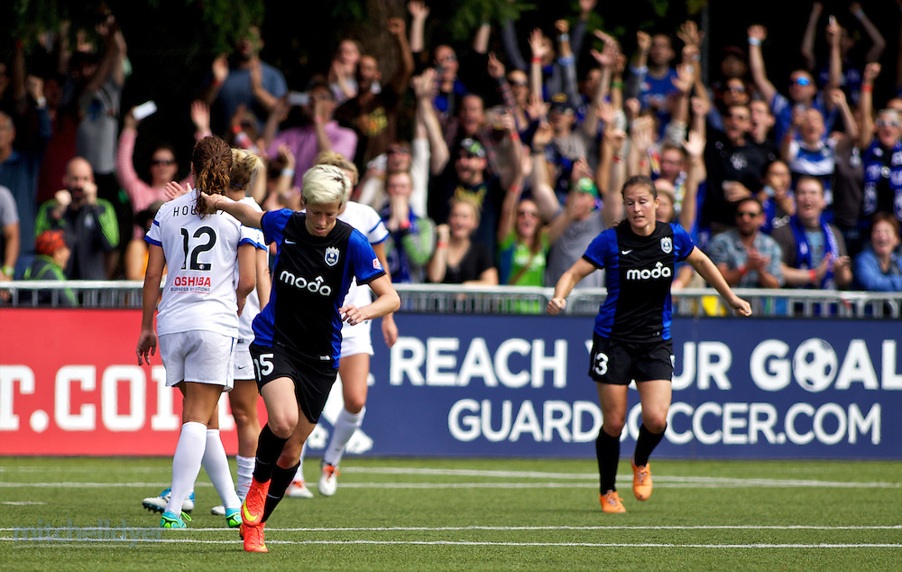 TUKWILA, WA - AUGUST 31: Megan Rapinoe #15 of Seattle Reign FC reacts after scoring a goal in the second half of the National Women's Soccer League Championship on August 31, 2014 at Starfire Stadium in Tukwila, Washington.  (Photo by Craig Mitchelldyer/Getty Images) *** Local Caption *** Megan Rapinoe