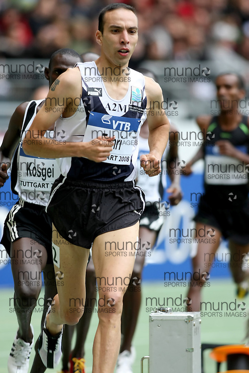 (Stuttgart, Germany---14 September 2008) bouabdellah Tahri of France running to seventh in the 3000m steeple chase at the 2008 World Athletics Final. [Copyright Sean W. Burges/Mundo Sport Images, 2008.]