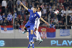 ATHENS, Nov. 13, 2017  Croatia's Ivan Perisic (R) vies with Greece's Zeca during the second leg of World Cup 2018 Qualifiers playoff match between Greece and Croatia in Piraeus, Greece, Nov. 12, 2017. (Credit Image: © Marios Lolos/Xinhua via ZUMA Wire)