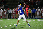 Oconee County's Max Johnson (14) passes the ball to a receiver during a GHSA high school football game between Madison County and Oconee County in Watkinsville Ga., on Friday, Nov. 8, 2019. Oconee County defeated Madison County 42-14.[Photo/Austin Steele, for the Athens Banner-Herald]