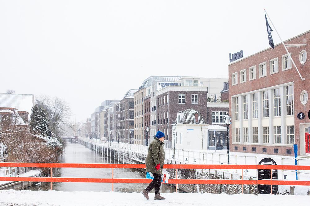 In Utrecht loopt een vrouw met een pak wc-papier door de sneeuw.<br /> <br /> In Utrecht a woman walks with just bought toilet paper in the snow.