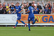 AFC Wimbledon striker Kweshi Appiah (9) celebrating after scoring goal to make it 2-3 during the EFL Sky Bet League 1 match between AFC Wimbledon and Scunthorpe United at the Cherry Red Records Stadium, Kingston, England on 15 September 2018.