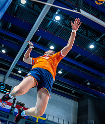 Wouter Ter Maat of Netherlands in action during the CEV Eurovolley 2021 Qualifiers between Sweden and Netherlands at Topsporthall Omnisport on May 14, 2021 in Apeldoorn, Netherlands