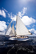 Good Expectation, a Carriacou Sloop, sailing in the Windward Race at the Antigua Classic Yacht Regatta.