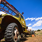 This is an army truck located at the Canyon of the Ancient Ranch in Colorado.