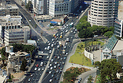 Israel, Tel Aviv aerial photography. The traffic at the junction of Begin road and Hachashmonaim in the center of the city