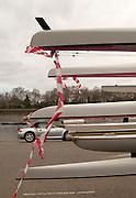 Putney, London, ENGLAND, 30.03.2006, 2006, Boats hanging of the boat Trailer, Varsity, Tideway Week, Thursday,  © Peter Spurrier/Intersport-images.com, [Mandatory Credit Peter Spurrier/ Intersport Images] Varsity, Boat race. Rowing Course: River Thames, Championship course, Putney to Mortlake 4.25 Miles