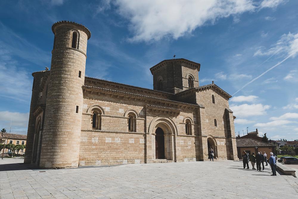 Fromista, Spain - June 17, 2018: The Romanesque church of San Martín de Tours de Frómista was built in the 11th century.