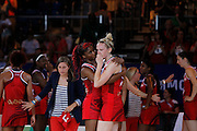 Mcc0055084 . Daily Telegraph<br /> <br /> England's Goal Shooter Joanne Harten is consoled by teammate Ama Agbeze after losing to Australia by one point in the Netball Preliminary Rounds on Day Three of the 2014 Commonwealth Games in Glasgow .<br /> <br /> 25 July 2014