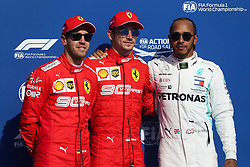 SPA-FRANCORCHAMPS, Aug. 31, 2019  Charles Leclerc (C), Sebastian Vettel (L) of Ferrari, and Lewis Hamilton of Merceides pose for photo after the Qualifying of the Formula 1 Belgian Grand Prix at Spa-Francorchamps Circuit, Belgium, Aug. 31, 2019. (Credit Image: © Zheng Huansong/Xinhua via ZUMA Wire)