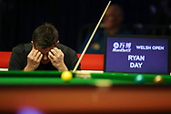 Ryan Day of Wales reacts during his 1st round match against Kurt Dunham of Australia.  ManBetx Welsh Open Snooker 2018, day 1 at the Motorpoint Arena in Cardiff, South Wales on Monday 26th February 2018.<br /> pic by Andrew Orchard, Andrew Orchard sports photography.