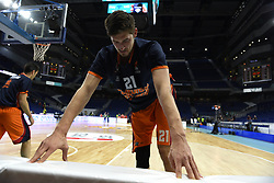 December 19, 2017 - Madrid, Madrid, Spain - Tibor Pleiss, #21 of Valencia stretching prior to the 2017/2018 Turkish Airlines EuroLeague Regular Season Round 13 game between Real Madrid and Valencia Basket at WiZink center in Madrid. (Credit Image: © Jorge Sanz/Pacific Press via ZUMA Wire)