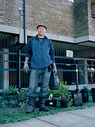 Cressingham Gardens tenant Nicolas Greaves during a community planting day for Lambeths biggest rain garden project supported by London Wildlife Trust on 18th April 2015 in South London, United Kingdom. Cressingham Gardens is a council garden estate, located on the southern edge of Brockwell Park. It comprises of 306 dwellings and built to the design of Lambeth Borough Council architect Edward Hollamby in the early 1970s. In 2012, Lambeth Council proposed regeneration of the estate, a decision highly opposed by many residents. Since the announcement, the highly motivated campaign group Save Cressingham Gardens has been active.