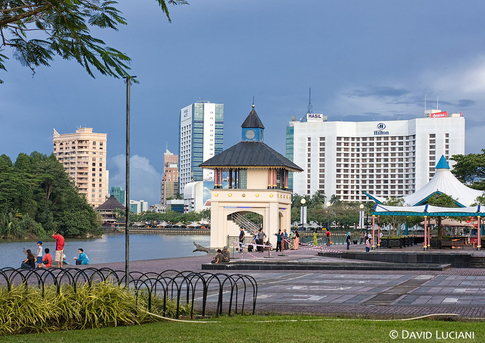 """According to """"Wikipedia"""" - The Kuching Waterfront is an approximately 1 kilometer long riverside esplanade stretching from the main hotel and commercial heartland of the city to downtown Kuching. The landscaped waterfront is dotted with food stalls, restaurants and benches and offers excellent views of The Astana, Fort Margherita and the New Sarawak State Legislative Assembly Building. The waterfront also features an observation tower, an open-air theater and musical fountains. The Sunday Market at Satok operates during weekends offers a large diversity of items for trade. The Kuching Civic Center offers a panoramic view of the city from a viewing platform during the day."""