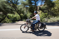 Dave Volnek of Nebraska riding his 1913 Indian on the last day of the Motorcycle Cannonball Race of the Century. Stage-15 ride from Palm Desert, CA to Carlsbad, CA. USA. Sunday September 25, 2016. Photography ©2016 Michael Lichter.