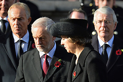 (left to right) Former Prime Minister Tony Blair, Labour leader Jeremy Corbyn, Prime Minister Theresa May and Former Prime Minister Sir John Major during the annual Remembrance Sunday Service at the Cenotaph memorial in Whitehall, central London, held in tribute for members of the armed forces who have died in major conflicts.