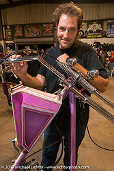 Eric Allard with one of his FNA customs at Bill Dodge's Blings Cycle shop during Biketoberfest. Daytona Beach, FL, USA. Friday October 20, 2017. Photography ©2017 Michael Lichter.