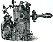 Lister's steam spray. This supplanted his 'Donkey Engine' spray, and could fill a room with steam and carbolic vapour.  From Richman Goodlee 'Lord Lister', 1917.