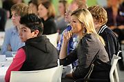 """Her Royal Highness Princess Máxima of the Netherlands attended the conference """"Youth and Money"""" by the Foundation What Do You Spend in the Jaarbeurs in Utrecht. During this conference the results of research on different types of funds use among adolescents is presented. Princess Maxima takes the first copy of the book money mindset in receiving President of the Ms. Foundation MB Fox. In addition, the Princess part in one of the workshops.<br /> <br /> <br /> Hare Koninklijke Hoogheid Prinses Máxima der Nederlanden is  aanwezig bij de conferentie 'Jongeren & Geld' van de Stichting Weet Wat je Besteedt in de Jaarbeurs in Utrecht. Tijdens deze conferentie worden de resultaten van onderzoek naar verschillende typen van geldgebruik onder jongeren gepresenteerd. Prinses Máxima neemt het eerste exemplaar van het boek MoneyMindsets in ontvangst van voorzitter van de Stichting mevrouw M.B. Vos. Daarnaast neemt de Prinses deel aan één van de workshops."""