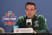 April 3, 2016; Indianapolis, Ind.; Head coach Ryan McCarthy addresses the media during their press conference at Bankers Life Fieldhouse.