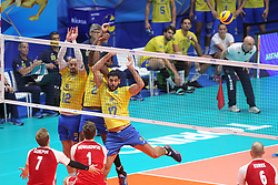 September 30, 2018 - Turin, Piedmont, Italy - Luiz Felipe Marques Fonteles (L), Isac Santos (C)) and Evandro M. Guerra (R) of Brazil  during the final match between Brazil and Poland for the FIVB Men's World Championship 2018 at Pala Alpitour in Turin, Italy, on 30 September 2018. Poland won 3: 0 and it is confirmed world champion. (Credit Image: © Massimiliano Ferraro/NurPhoto/ZUMA Press)