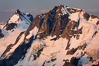 Sunrise on Mount Matier (left 2783 m -9131 ft) and Joffre Peak (2721 m -8927 ft) Coast Range British Columbia Canada beauty in nature