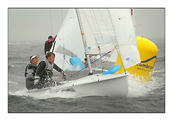 470 Class European Championships Largs - Day 2.Wet and Windy Racing in grey conditions on the Clyde...GBR853, Anna BURNET, Flora STEWART, RNCYC..