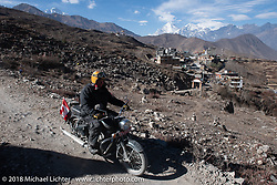Rip Rolfsen riding back to Muktinath from the Buddhist temple above the town on day-6 of our Himalayan Heroes adventure riding from Muktinath to Tatopani, Nepal. Sunday, November 11, 2018. Photography ©2018 Michael Lichter.