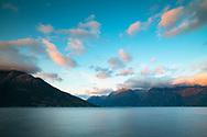 Sunrise over Hardanger Fjord, Vestlandet, Norway, Scandanavia, Europe
