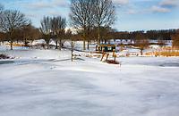 HALFWEG - Winter 2021. AGC , De Amsterdamse Golf Club,  in de sneeuw. green hole 9.  COPYRIGHT  KOEN SUYK