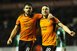 Diogo Jota of Wolverhampton Wanderers celebrates his goal with Ruben Neves of Wolverhampton Wanderers -Mandatory by-line: Nizaam Jones/JMP - 02/01/2018 - FOOTBALL - Molineux - Wolverhampton, England- Wolverhampton Wanderers v Brentford -Sky Bet Championship