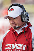 STARKVILLE, MS - NOVEMBER 22:   Bobby Petrino of the Arkansas Razorbacks watches his team on the field against the Mississippi State Bulldogs at Davis Wade Stadium on November 22, 2008 in Starkville, Mississippi.  The Bulldogs defeated the Razorbacks 31 to 28.  (Photo by Wesley Hitt/Getty Images) *** Local Caption *** Bobby PetrinoUniversity of Arkansas Razorback Men's and Women's athletes action photos during the 2008-2009 season in Fayetteville, Arkansas....©Wesley Hitt.All Rights Reserved.501-258-0920.