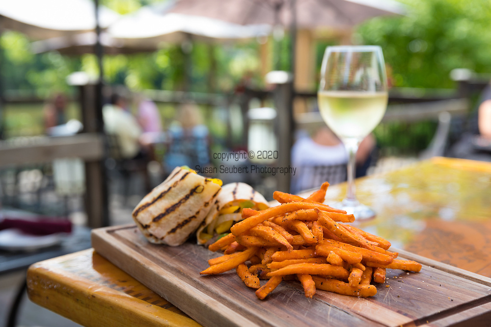 The Cellar Restaurant has a summer dining patio on the Grand River in downtown Elora, Ontario, Canada