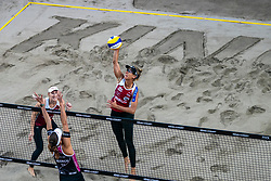 Emily Day USA (l), April Ross in action during the last day of the beach volleyball event King of the Court at Jaarbeursplein on September 12, 2020 in Utrecht.