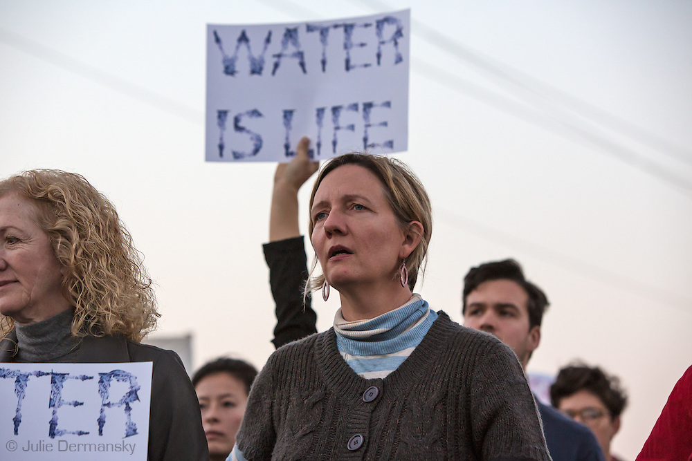 November 15, 2016, Anne Rolfes, director of the Louisiana Bucket Brigade with over 150 people protest against the Dakota Access Pipeline in New Orleans outside the US Army Corp of Engineers headquarters in a show of solidarity with the Standing Rock Sioux tribe, whose fight against the pipeline has made international news.
