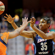 UNCASVILLE, CONNECTICUT- JUNE 3:   Angel McCoughtry #35 of the Atlanta Dream in action during the Atlanta Dream Vs Connecticut Sun, WNBA regular season game at Mohegan Sun Arena on June 3, 2016 in Uncasville, Connecticut. (Photo by Tim Clayton/Corbis via Getty Images)