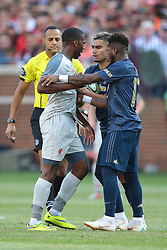 July 28, 2018 - Ann Arbor, Michigan, United States - Daniel Sturridge (15) of Liverpool clashes with Fred (17) and Andreas Pereira (15) of Manchester United during an International Champions Cup match between Manchester United and Liverpool at Michigan Stadium in Ann Arbor, Michigan USA, on Wednesday, July 28,  2018. (Credit Image: © Amy Lemus/NurPhoto via ZUMA Press)