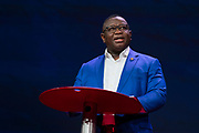 President Julius Maada Bio speaks at TED2019: Bigger Than Us. April 15 - 19, 2019, Vancouver, BC, Canada. Photo: Bret Hartman / TED
