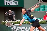 Paris, France. Roland Garros. May 26th 2013.<br /> French player Michael LLODRA against Steve DARCIS
