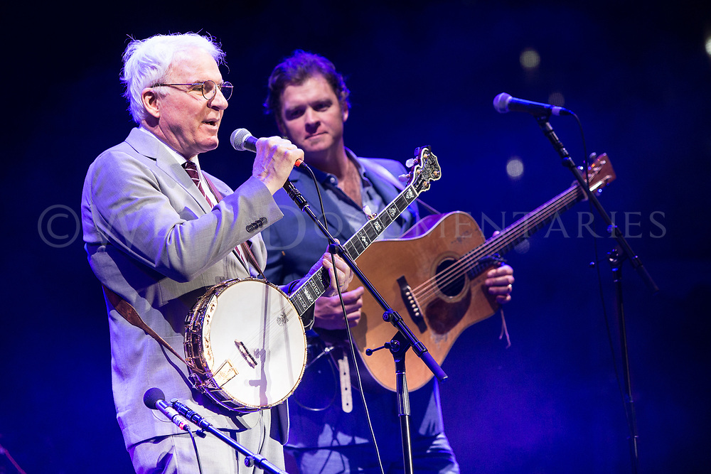 Steve Martin sits in with the Steep Canyon Rangers at the Wide Open Bluegrass music festival during their set at the Red Hat Amphitheater, Sept. 30, 2017. (Photos by - JOHN WEST)