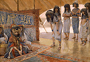"""SARAI IS TAKEN TO PHARAOH'S PALACE. Gen. xii. 15. """"The princes also of Pharaoh saw her, and commended her before Pharaoh: and the woman was taken into Pharaoh's house. From the book ' The Old Testament : three hundred and ninety-six compositions illustrating the Old Testament ' Part I by J. James Tissot Published by M. de Brunoff in Paris, London and New York in 1904"""