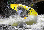"""SHOT 6/6/08 2:26:02 PM - Stephen Wright performs a """"loop"""" in his freestyle kayak on Gore Creek at the 2008 Teva Mountain Games in Vail, Co. The games attract some of the world's best extreme athletes to compete in kayaking, bouldering, speed and dyno climbing, mountain bike freeride, big air, cross country and road racing, trail running, dog competitions and the GNC Ultimate Mountain Challenge. Wright is the current world champion in freestyle kayaking and is known for his high flying manuevers. Wright qualified for the finals and finished fourth..  (Photo by Marc Piscotty / © 2008)"""