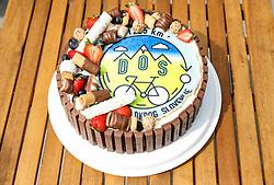 DOS cake  during 5th Stage from Dobrovnik to Novo mesto, 225 km at Day 5 of DOS 2021 Charity event - Dobrodelno okrog Slovenije, on May 1, 2021, in Slovenia. Photo by Vid Ponikvar / Sportida